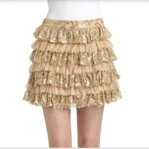 Alice + Olivia Metallic Tiered Lace Ruffle Skirt